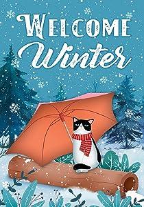 "Texupday Welcome Winter Umbrella Cat Decoration Snowy Forest Garden Flag Outdoor Yard Flag 12"" x 18"""