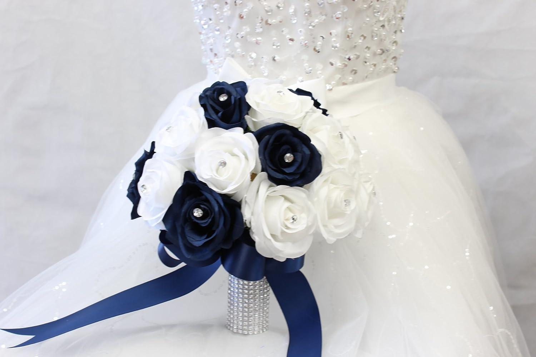 Bridesmaids Bouquets Silk Flower Bouquet,Blue,Navy,Steel Blue  Ivory,White Wedding Flowers Wedding Bouquet Artificial Wedding Bouquet