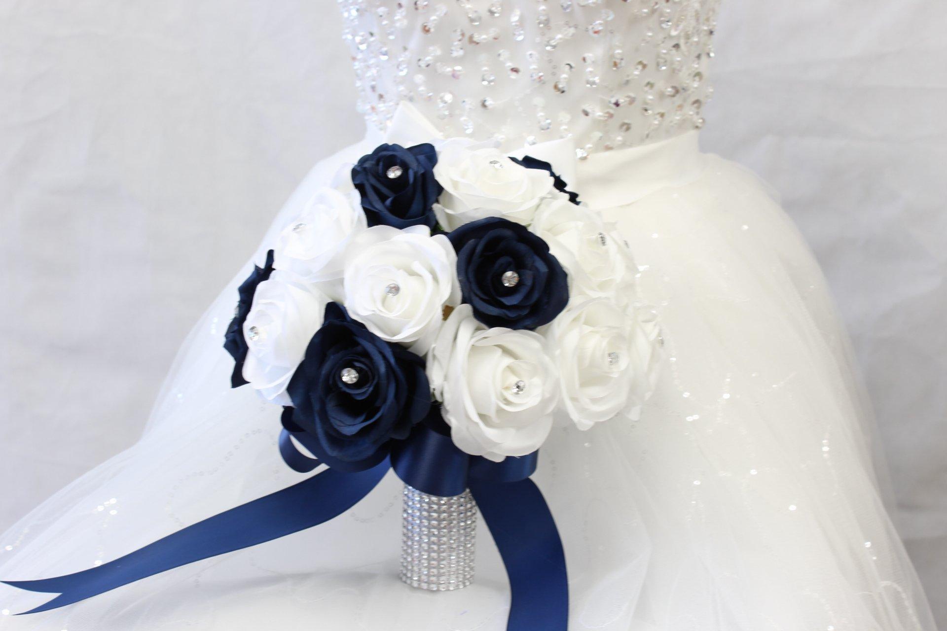 silk flower arrangements angel isabella bridal bouquet - navy blue white with ribbon and rhinestone - silk flower