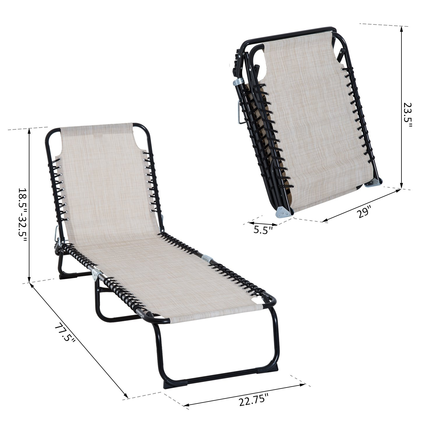 Outsunny 3-Position Reclining Beach Chair Chaise Lounge Folding Chair - Cream White by Outsunny (Image #7)