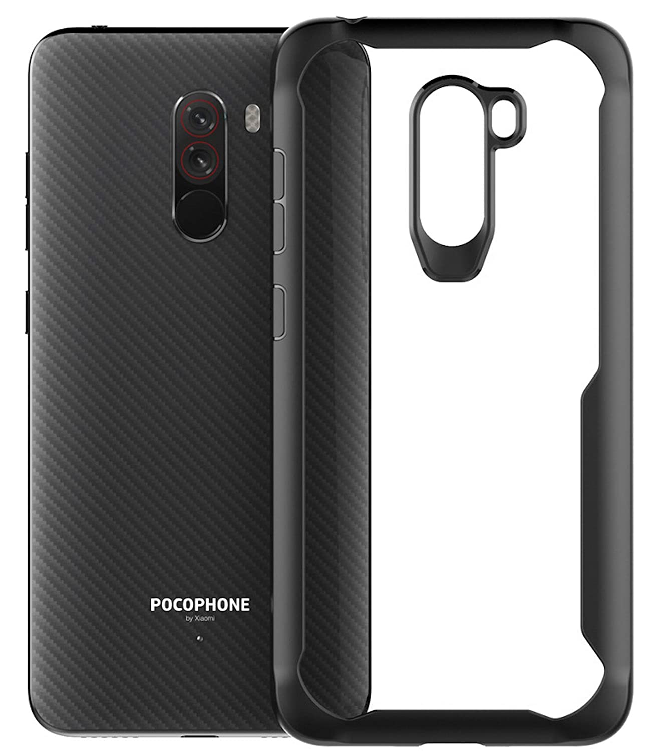 the best attitude 3f2be 6b917 Bounceback Poco F1 Cover Case Shock Proof Clear Transparent Soft TPU Back  Cover Case for Poco F1 - Charcoal Black
