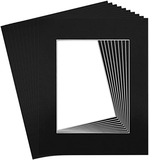 Studio 500 Acid-Free Pack of 50 8 by 10-inch Black Picture Mat Mattes with White Core Bevel Cut for 5x7 Photo