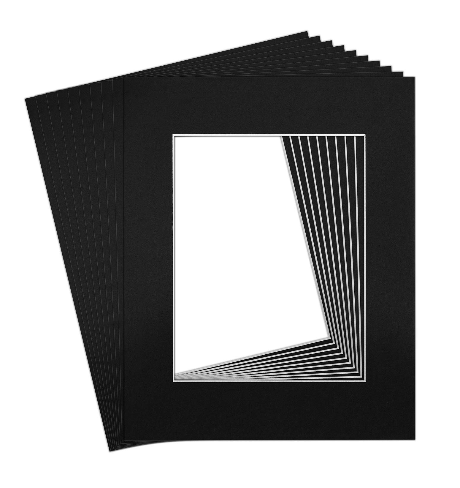 Pack of 10 16x20 BLACK Picture Mats with White Core Bevel Cut for 11x14 Pictures by Golden State Art