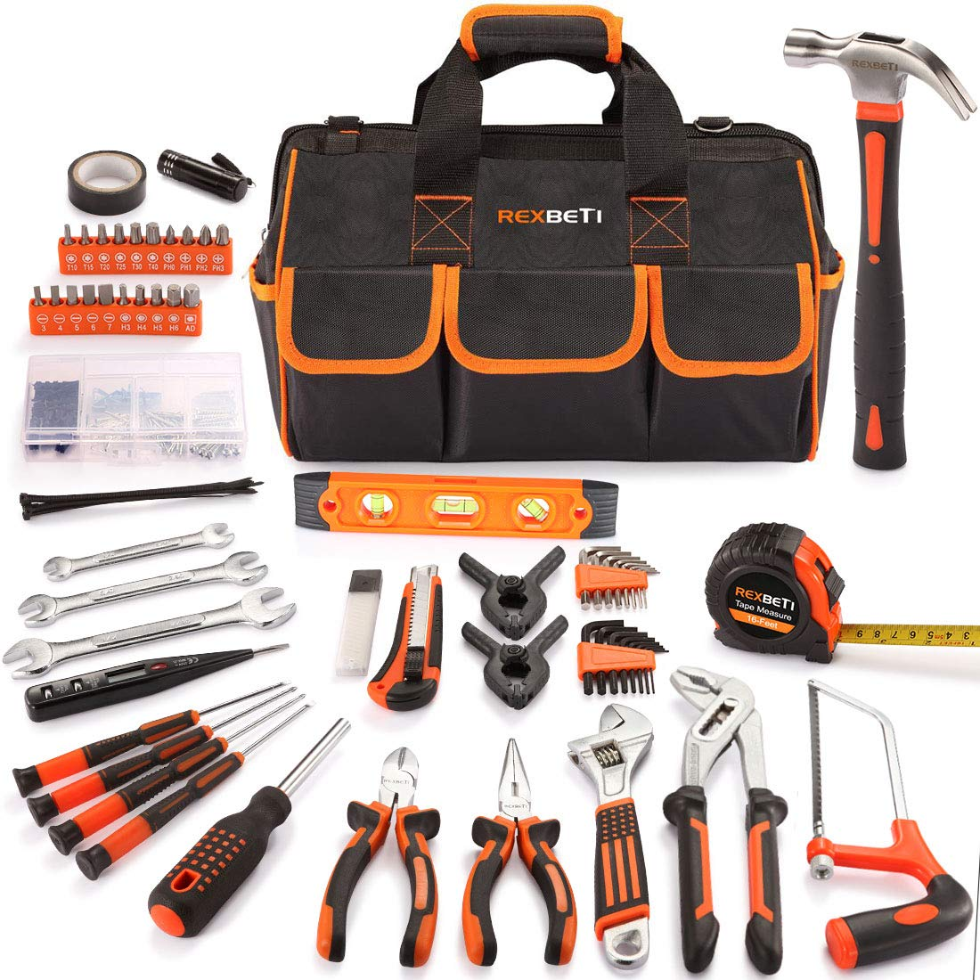 REXBETI 169-Piece Premium Tool Kit with 16 inch Tool Bag, Steel Home Repairing Tool Set, Large Mouth Opening Tool Bag with 19 Pockets by REXBETI