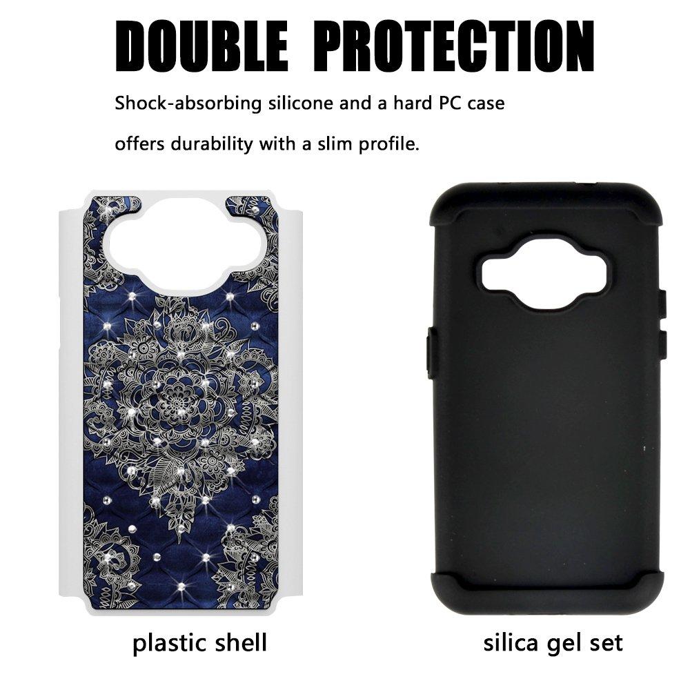 J3 Case, MagicSky [Shock Absorption] Studded Rhinestone Bling Hybrid Dual Layer Armor Defender Cover For Samsung Galaxy J3 (2016) -Flower