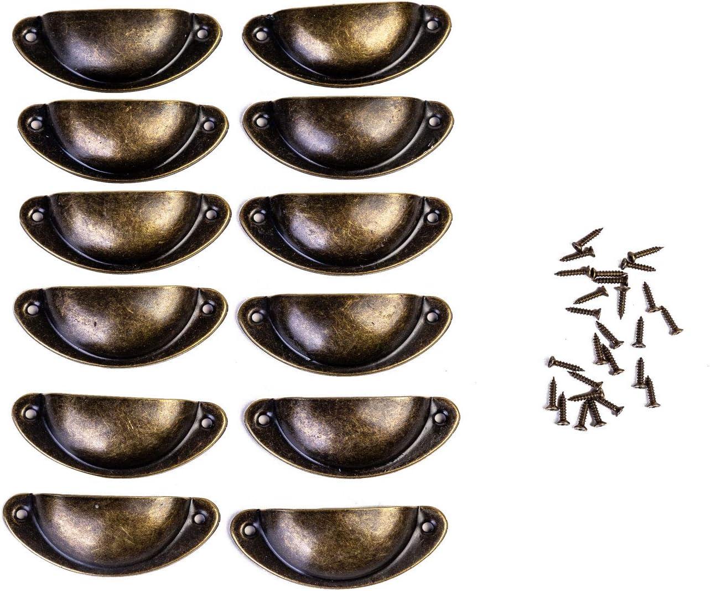 FVCENT 12 pz maniglie in bronzo antico armadi Maniglia a conchiglia per cassetti cassetti armadi maniglia semicircolare con viti per armadietti