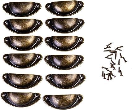Muschelgriff Vintage Griffe Bronze Schrank Schubladengriff mit Schrauben f/ür Kabinett Schubladen Schrank Apothekerschrank 20 St/ücke