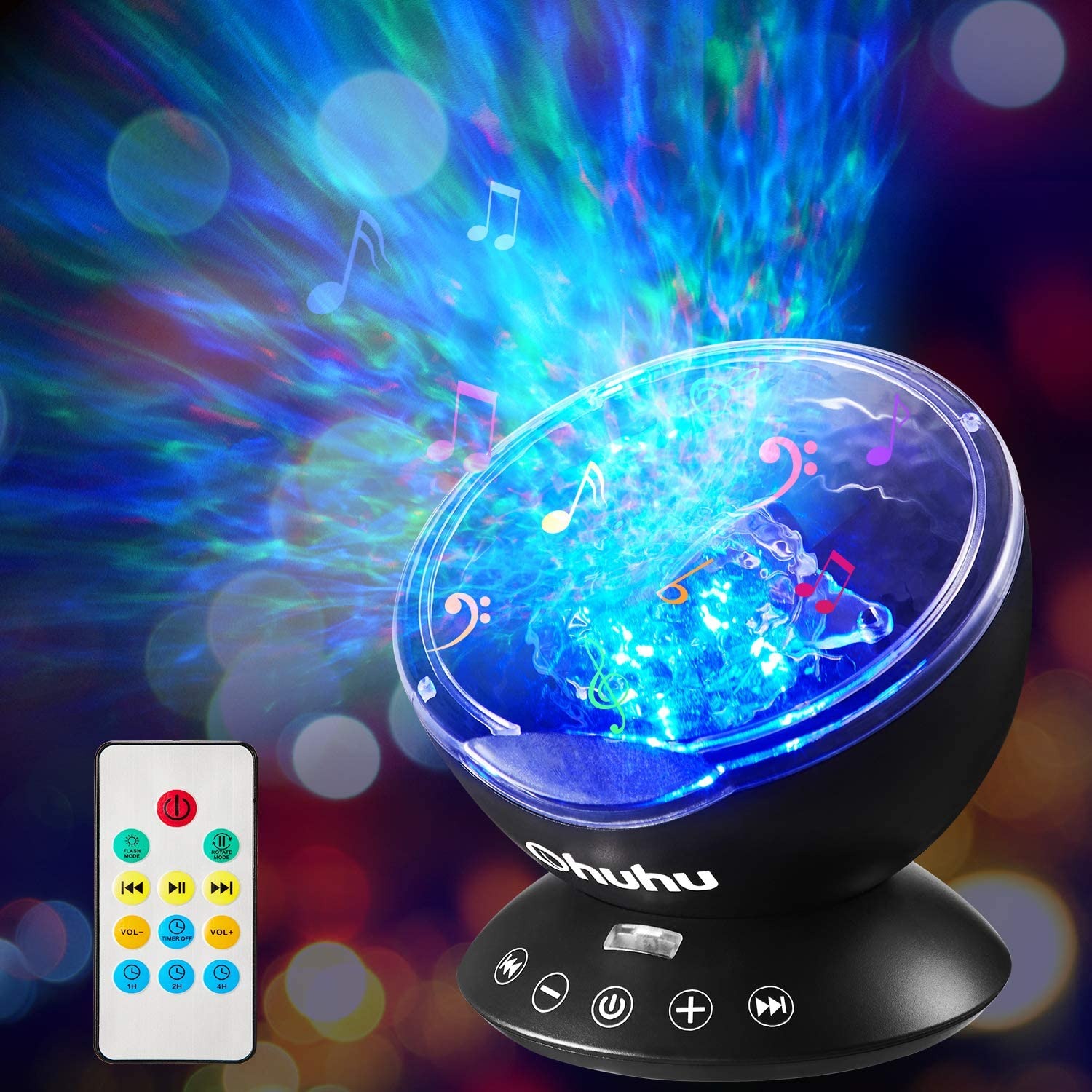 Ocean Wave Night Light Projector, Ohuhu Remote Control Projection lamp Rotation Northern Light Projector Mood Light, Upgraded 12 LED 7 Colors for Baby Nursery, Adults and Kids Gifts