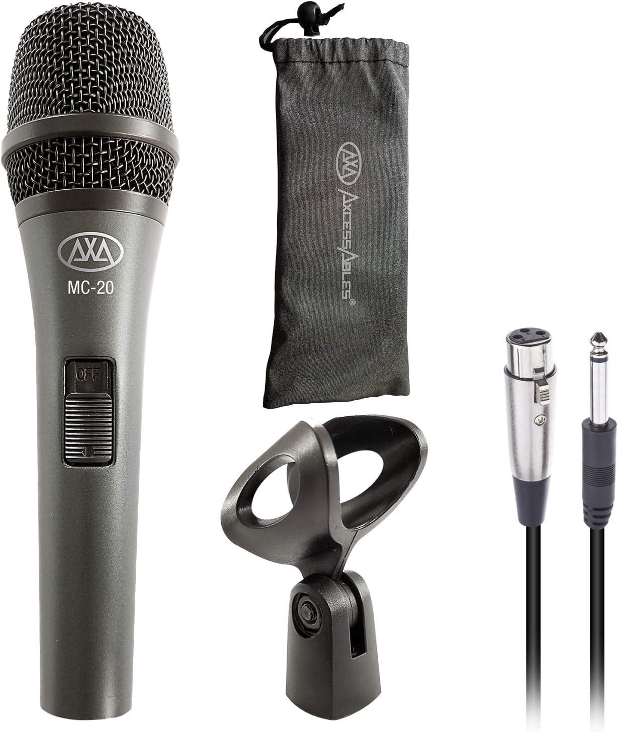 AxcessAbles Dynamic Podcast Mic XLR Cable Bundle Live Recording Desktop Boom Arm