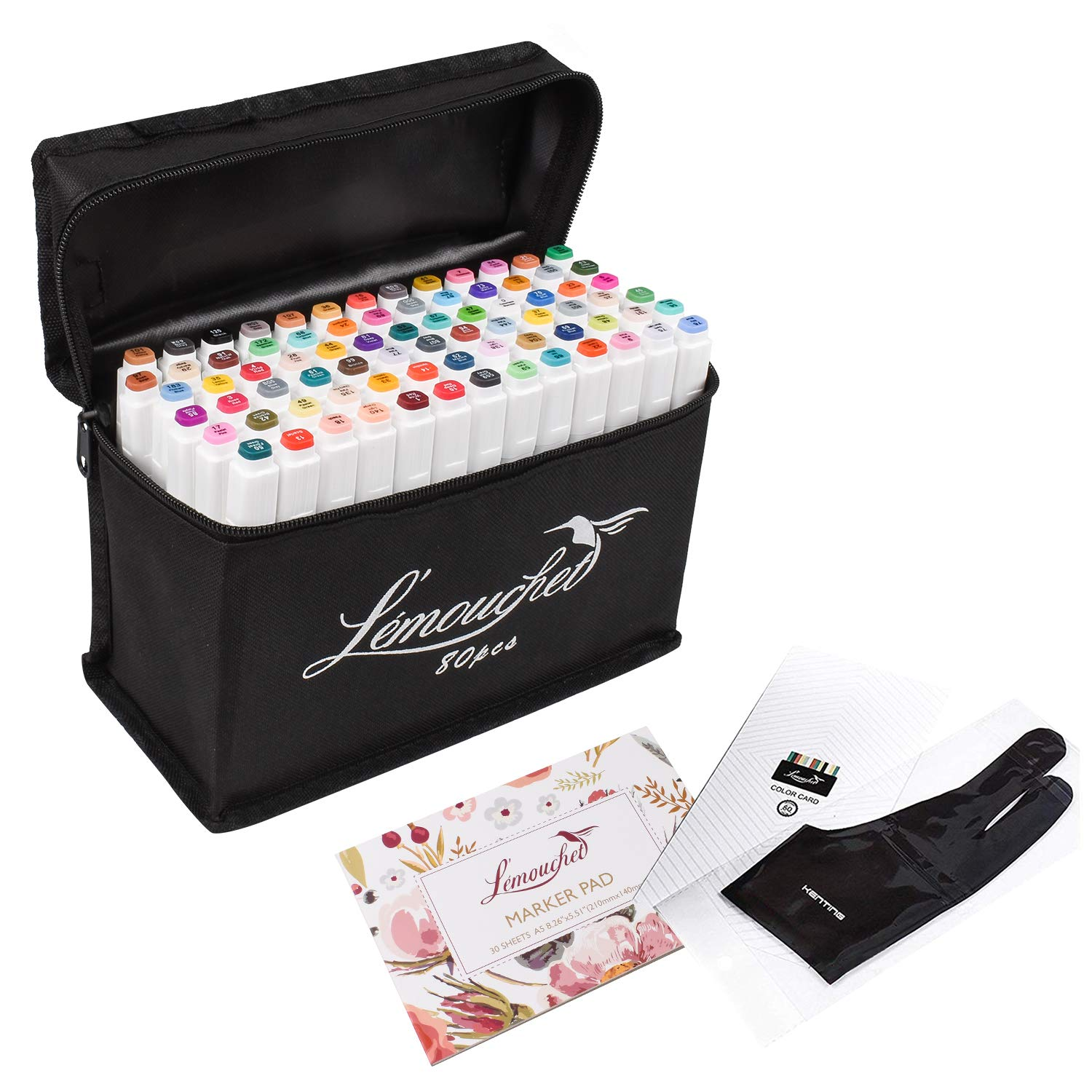 L'émouchet 80+1 Colors Art Markers, Dual Tips Alcohol Markers with Carrying Case, Artist Glove, Marker Pad and Color Card, Drawing Markers for Coloring, Marking, Drawing and More