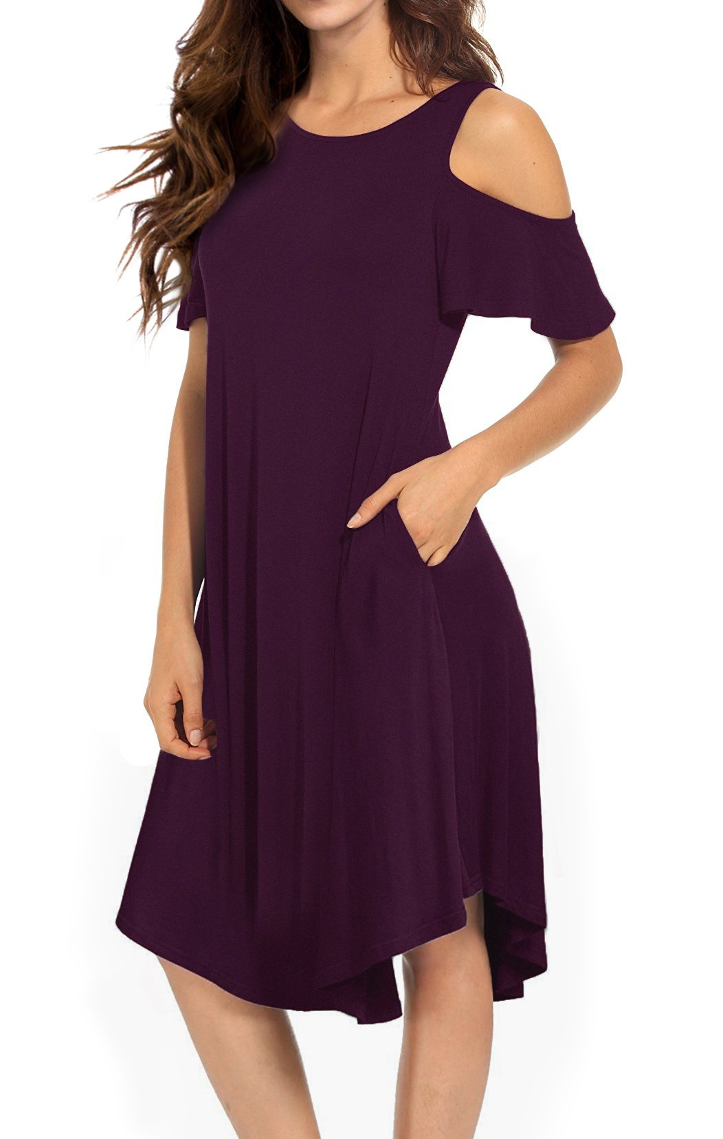 VERABENDI Women's Casual Cold Shoulder Midi Dress Short Sleeve Swing Dress with Pockets Mulberry Large