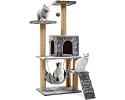 Arespark Cat Tree, 55inch 140cm Multi Layer Cat Tree, Cat Activity Tower with Scratching Post/Cat Vendo/Hammock/Cute Furry Pl