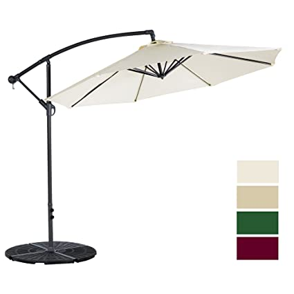 Attrayant Cloud Mountain 10 Ft Patio Umbrella Offset Cantilever Hanging Outdoor 8  Steels Ribs 100% Polyester