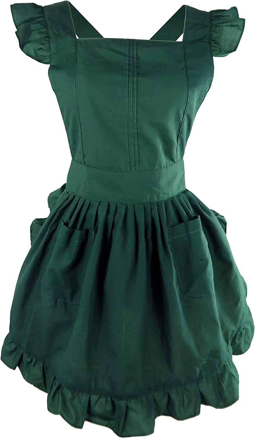 LilMents Petite Maid Ruffle Retro Apron Kitchen Cooking Cleaning Fancy Dress Cosplay Costume (Green)