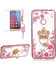 Crown Stand Ring Case For HUAWEI P10 LITE, Girlyard [Secret Garden] Electroplate Case Shiny Bling Glitter Butterfly Case Pink Floral Embossed Cover Crystal Clear Back Case, Rose Gold Edge