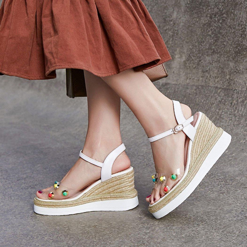 GAOLIXIA GAOLIXIA GAOLIXIA Damen Damen Leder Transparent Offene Zehe Sandalen Sommer Farbige Nieten High Heels Plattform Keile High Heel Sandaletten e4cf6c