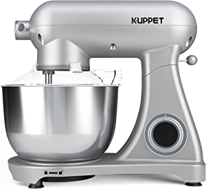 KUPPET Stand Mixer Pro, All Metal Body Mixer, Tilt-Head Electric Food Mixer with Dough Hook, Wire Whip & Beater, Pouring Shield, 5.5QT Stainless Steel Bowl - Silver