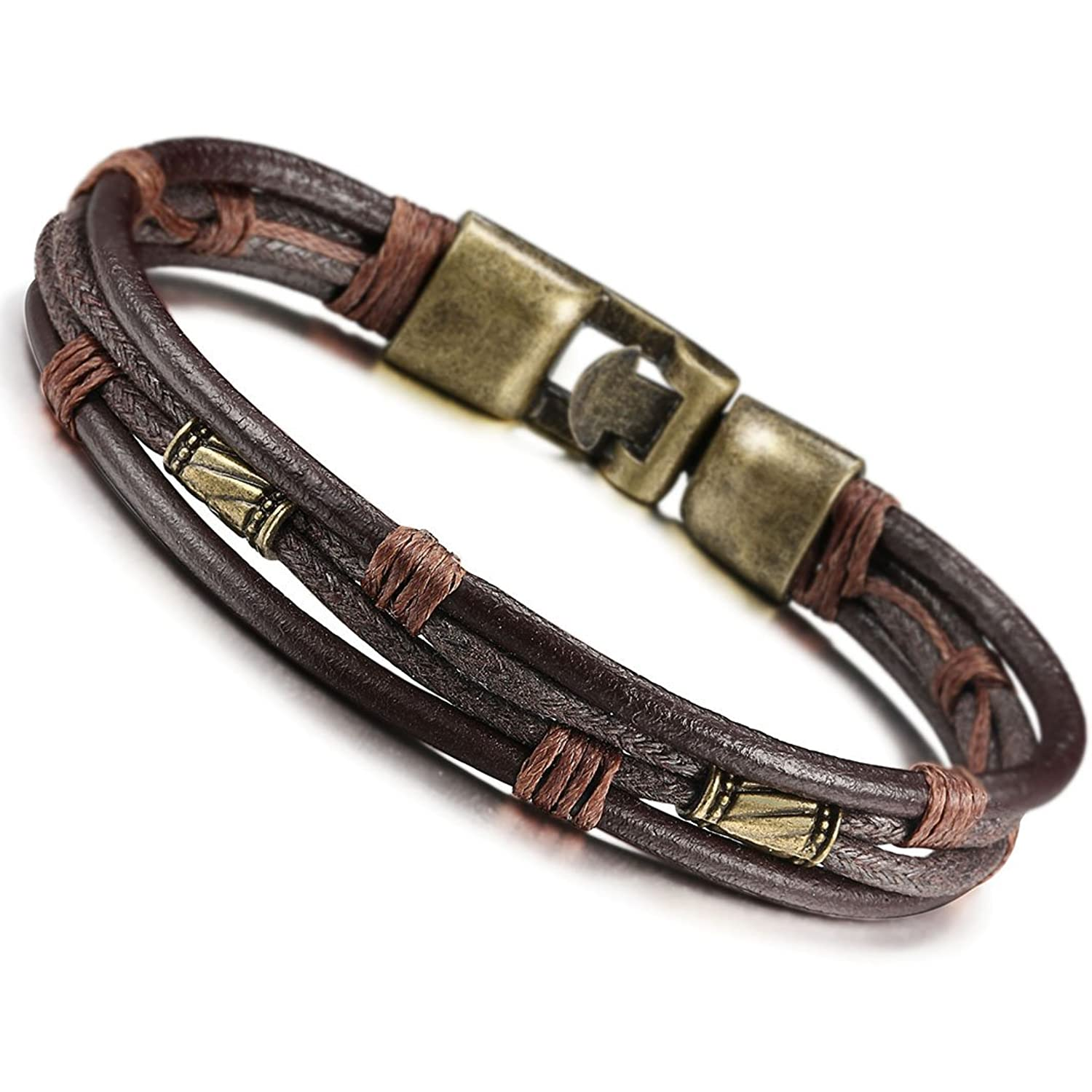 Amazon.com: Jstyle Mens Vintage Leather Wrist Band Brown Rope ...