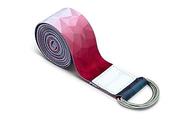 omnihabits - Cinturón de Yoga con Anillos de Metal Resistentes para Ajustar el tamaño (2,2 m), diseño Estampado