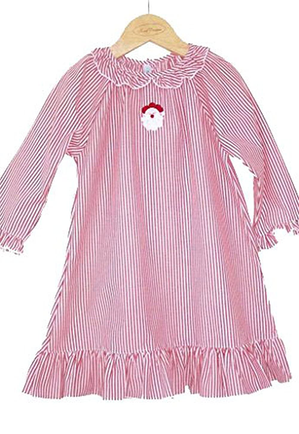 Red and White Stripe Sweet Dreams Christmas Night Gown With Santa Embroidery