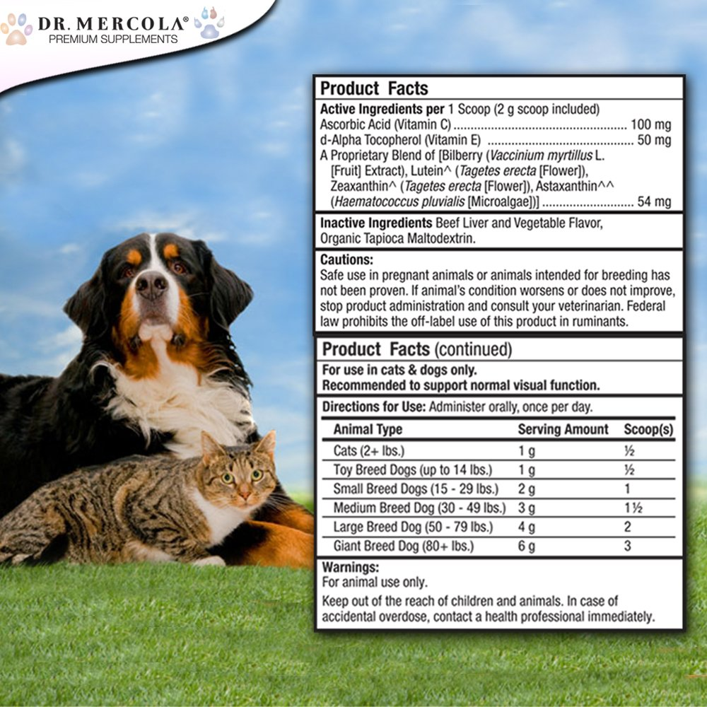 Dr. Mercola Eye Support For Pets – 180 Grams – Helps Maintain Ocular Integrity and Structure – Natural Liver-Flavor Powder