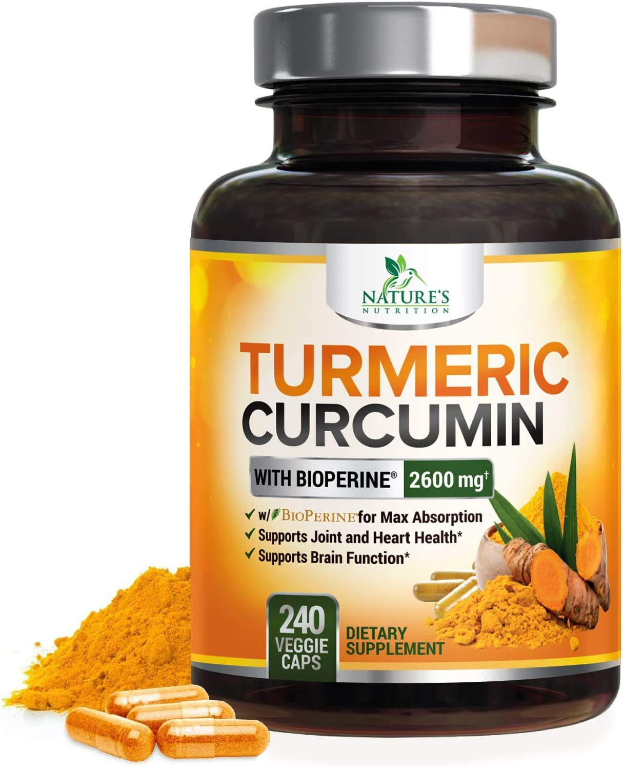 Turmeric Curcumin with Bioperine 95% Curcuminoids 2600mg with Black Pepper for Best Absorption, Made in USA, Best Vegan Joint Support, Turmeric Supplement Pills by Natures Nutrition - 240 Capsules