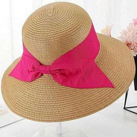 WNWZHWHR-Sun Hat Sombreros de Verano con Arcos Grandes para Mujer ...