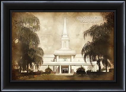 Amazon.com: LDS (Mormon) 16 x 22 Framed Vintage Orlando Temple LDS ...