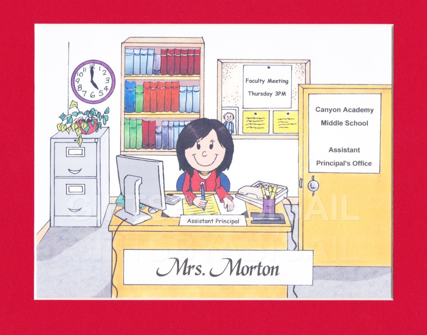 School Secretary Gift Personalized Custom Cartoon Print 8x10, 9x12 Magnet or Keychain