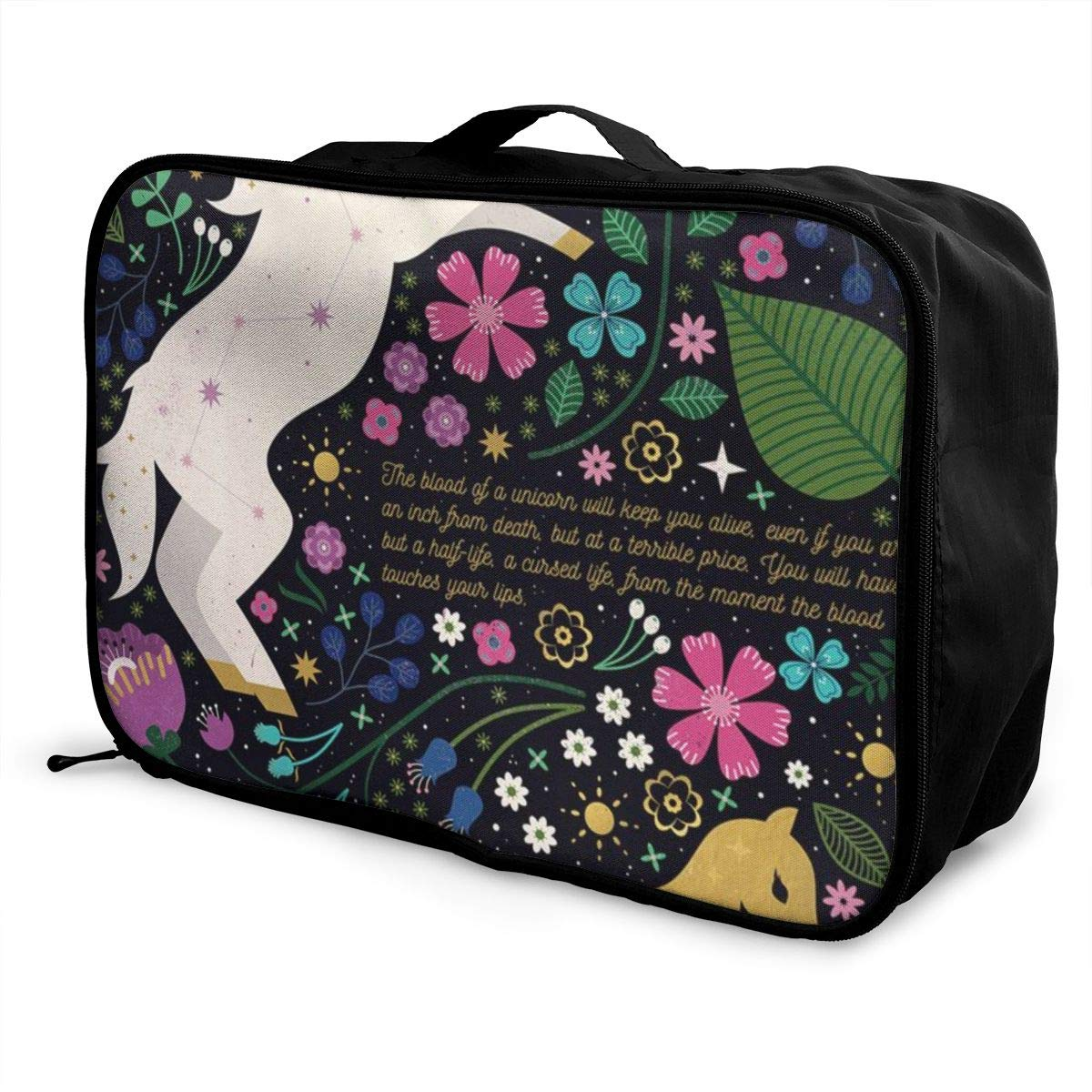 Cartoon Unicorn And Flowers Travel Lightweight Waterproof Folding Storage Portable Luggage Duffle Tote Bag Large Capacity In Trolley Handle Bags 6x11x15 Inch