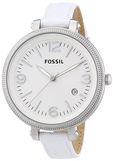 Fossil Heather ES3276 - Reloj analógico de cuarzo para mujer, correa de cuero color blanco