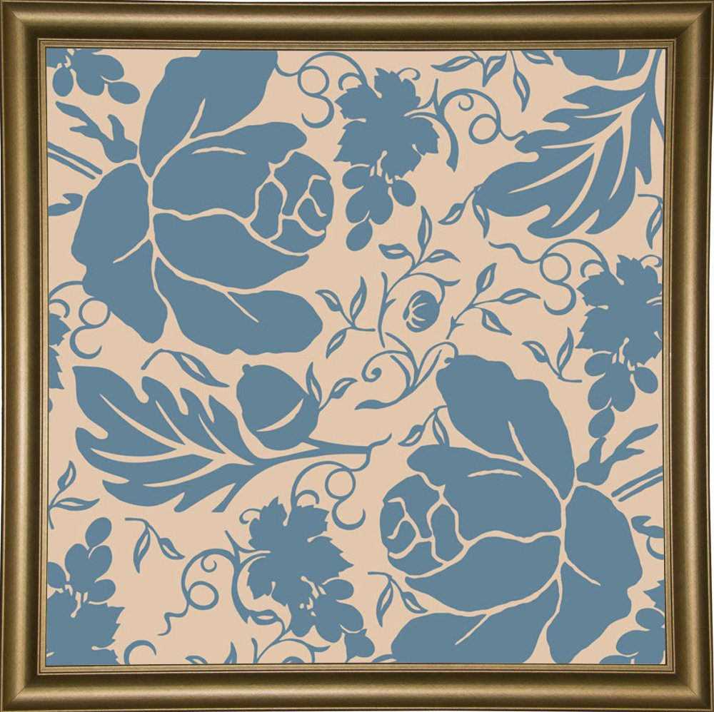 Frame USA Grapes and Buds Blue and Taupe Framed 24x24 by Mindy Sommers-MINSOM91721 Print 24x24 Affordable Brazilian Walnut Medium