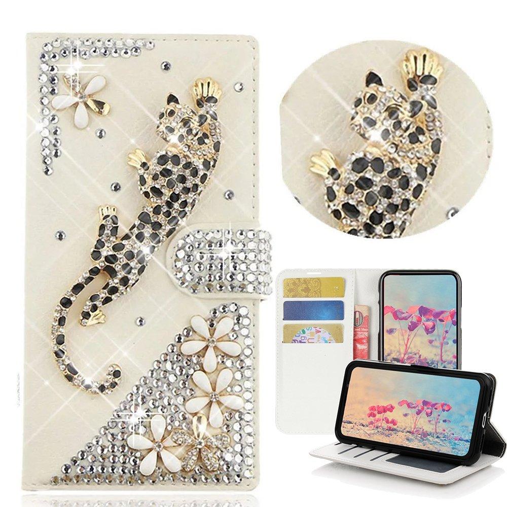 STENES LG V30 Case, LG V30 Plus Case - Stylish - 3D Handmade Bling Crystal Leopard Flowers Desgin Wallet Credit Card Slots Fold Media Stand Leather Cover Case - Gold