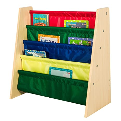 Edencomer FSC Certified 4 Pockets Bookshelf Eco Friendly Home Kids Storage Rack Natural