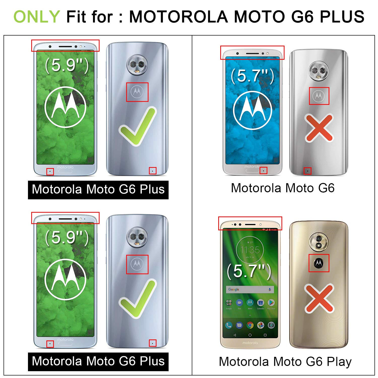HOOMIL Motorola Moto G6 Plus Case Premium Leather Case for Moto G6 Plus  Phone Cover (Black)