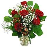 Clare Florist Romantic Flowers Heartfelt Red Roses Bouquet - 6 Gorgeous High Grade Fresh Roses
