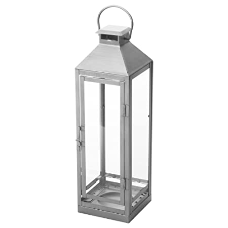 Amazing IKEA LAGRAD   Lantern F Block Candle, In/outdoor Silver Colour