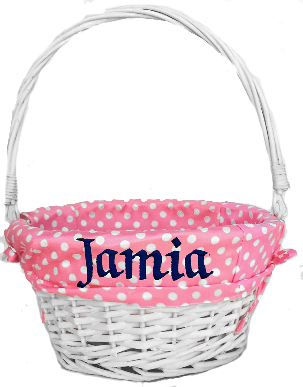 Personalized Easter Basket for Girls Pink Coral – Personalized White Wicker Basket with Folding Handle and Easter Polka Dot Liner Kids Monogrammed with Child s Name in Embroidery
