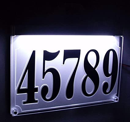 7332acbfe80 Image Unavailable. Image not available for. Color  LCD Solutions -Custom  Edge lit Acrylic Address Sign led Lighted Address Plaque Weatherproof ...