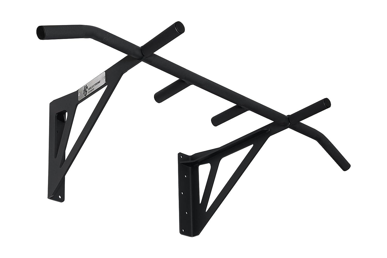 Hold Strong Fitness - Klimmzugstange aus Stahl mit 6 Griffweiten zur Wandbefestigung/Profiqualität und Studiozulassung nach EN 957 / Schwarz/HS-K-W6S