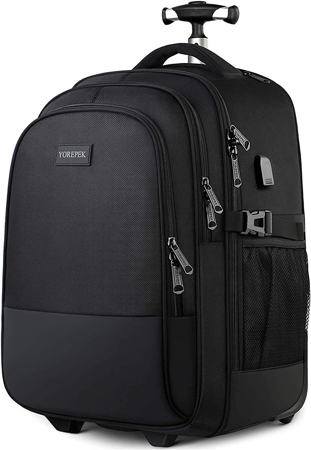 Matein Waterproof Travel Wheeled Laptop Backpack for Women Men Carryon Trolley Luggage Suitcase Compact Business Bag College School Computer Bag fit 15.6 Inch Notebook,Black Rolling Backpack
