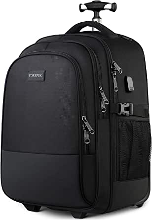 Wheeled Backpack, Large Rolling Backpack for Men Women, Water Resistant Business Travel Carry on Luggage Suitcase Bag Durable Roller College School Computer Bookbag Fits 17 Inch Laptop, Black
