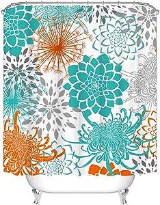 Teal Dahlia Shower Curtain Dahlia Floral Bathroom Curtain with Lycoris Radiata Equinox Flower Fabric Home Bathroom Decor with Hooks 72