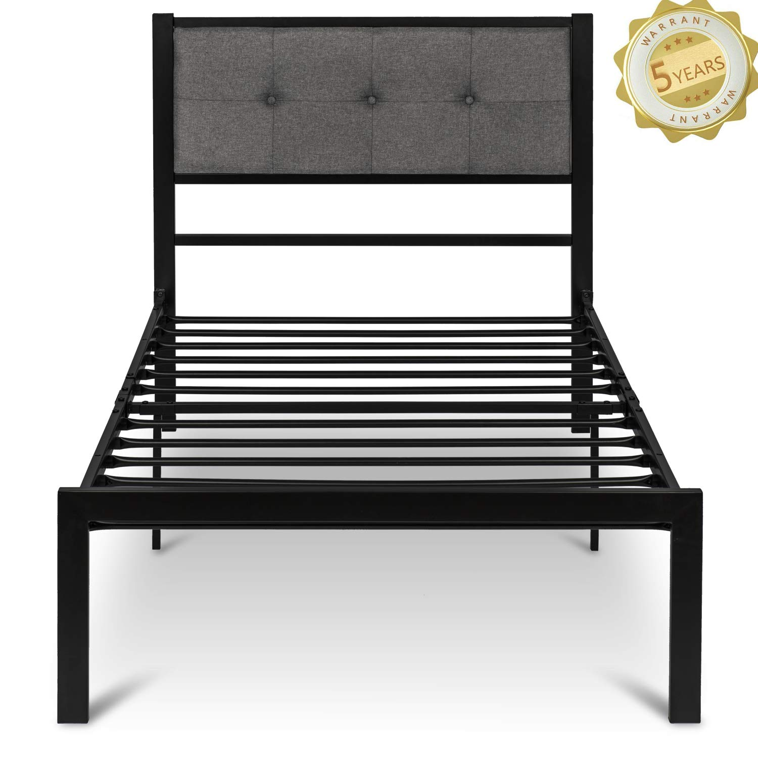 Romatlink Twin Platform Bed Wood Frame with Storage Headboard Wooden Slat Support for Home Hostel Dorms etc.No Box Spring Needed with Clear Instruction- Espresso
