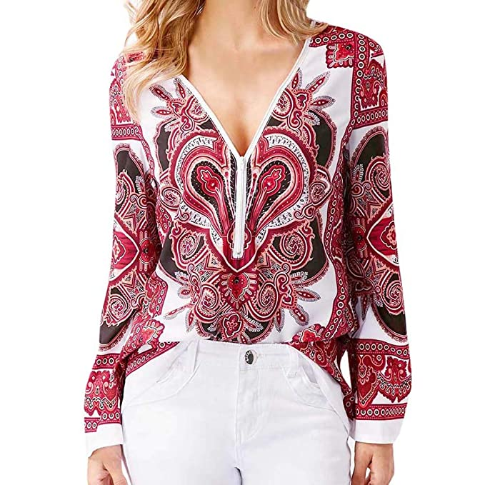 ❤ Tefamore Camisa para Mujer, Impresión Cuello en V Cremallera Manga Larga Blusas para Mujer Moda Tops Camisa para Adolescentes Chicas: Amazon.es: Ropa y ...