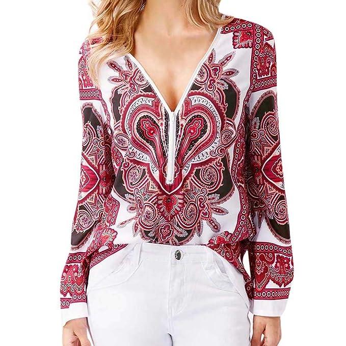 Tefamore Camisa para Mujer, Impresión Cuello en V Cremallera Manga Larga Blusas para