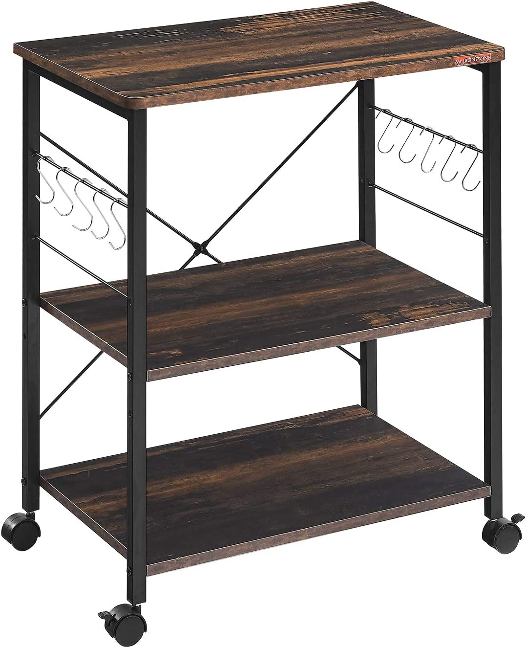 Mr IRONSTONE 3-Tier Kitchen Baker's Rack Utility Microwave Oven Stand Storage Cart Workstation Shelf (Charcoal Brown)