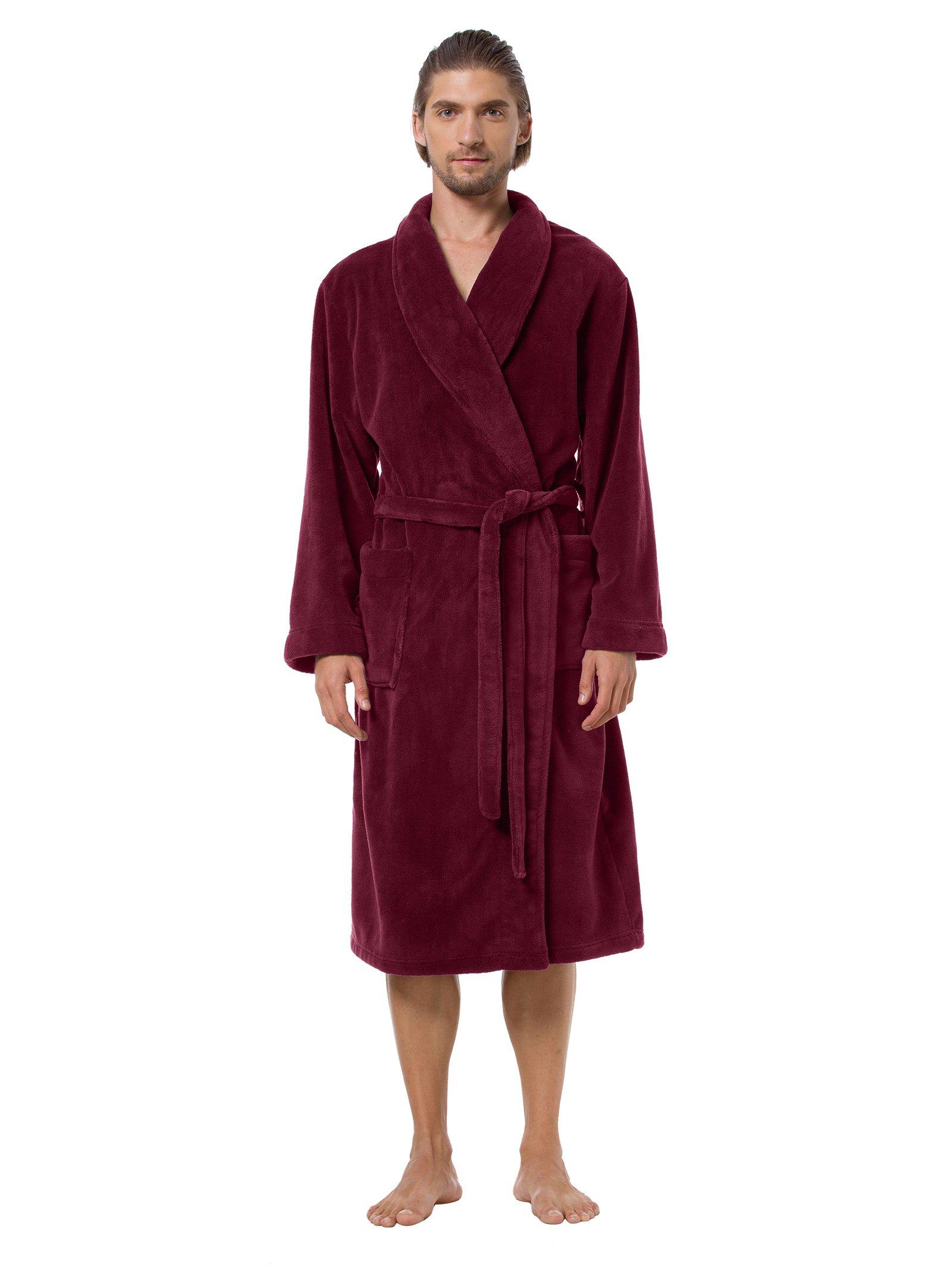 SIORO Long Lightweight Robe Men's Sleepwear 2XL Long Plush Soft Bathrobe Winter Warm Nightgown Absorbent Burgundy