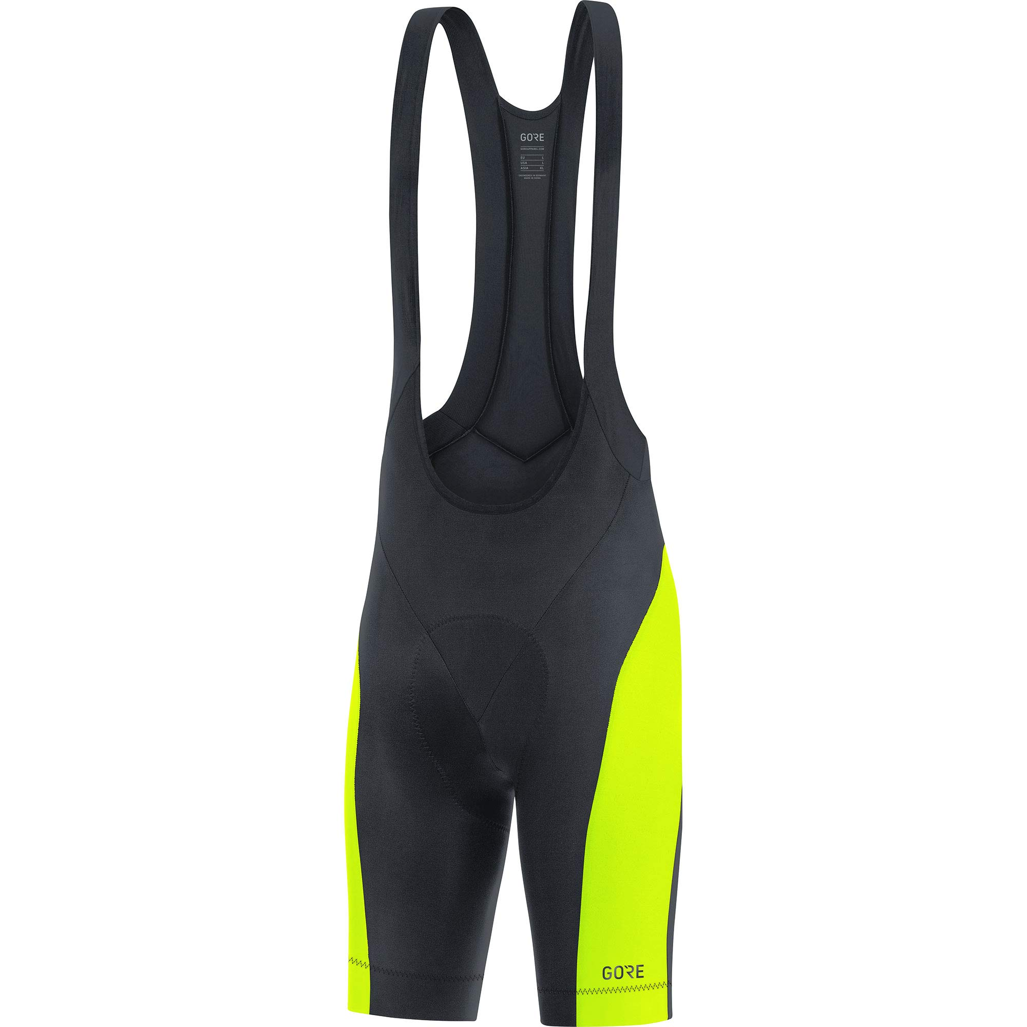 GORE WEAR C3 Men's Cycling Bib Shorts with Seat Insert, Size: M, Color: Black/Neon Yellow