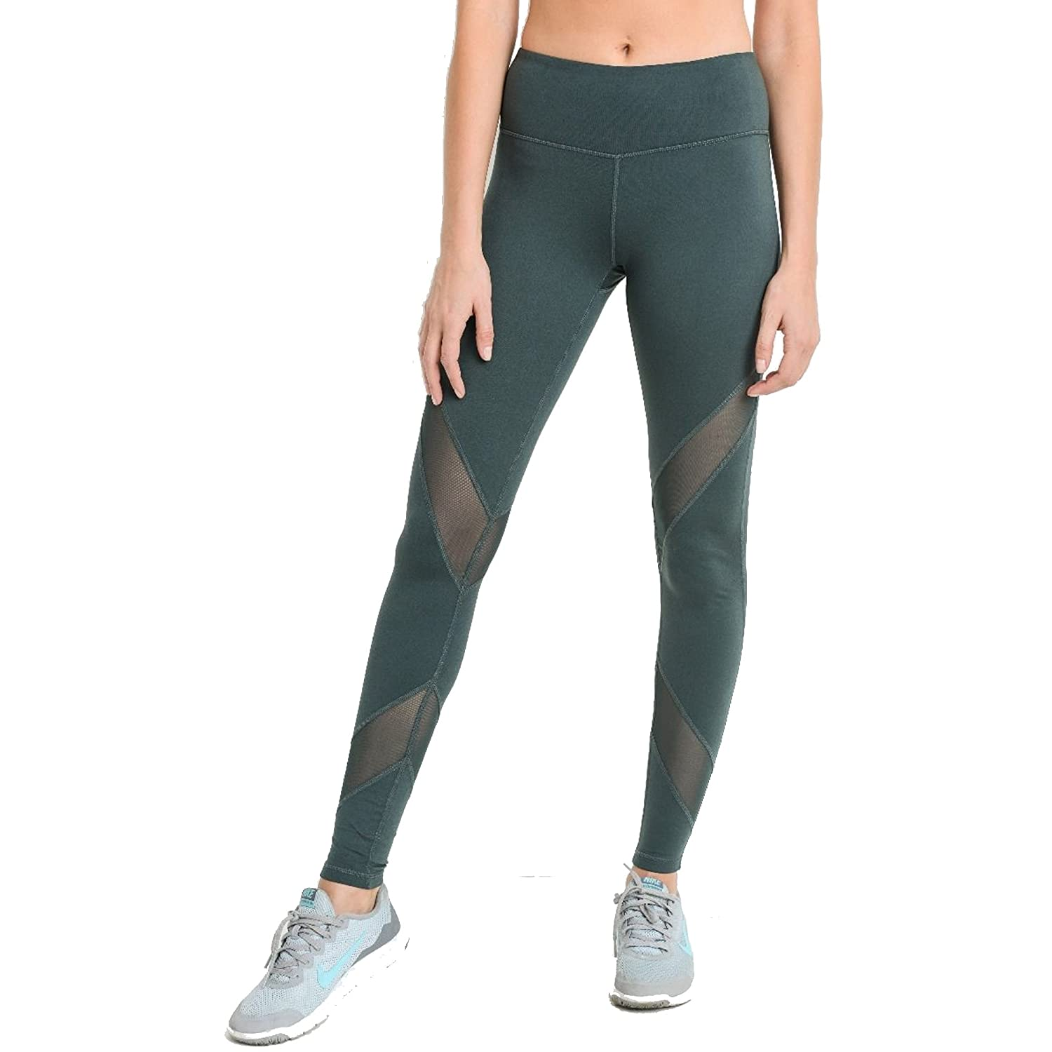 Mono B Womens Super Soft Criss-Cross Mesh Panel Full Leggings